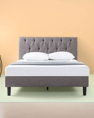 Zinus AMBER - Upholstered Diamond Tufted Premium Platform Bed