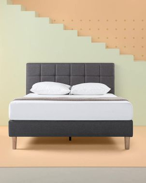 Zinus LOTTIE - Upholstered Square Stitched Platform Bed