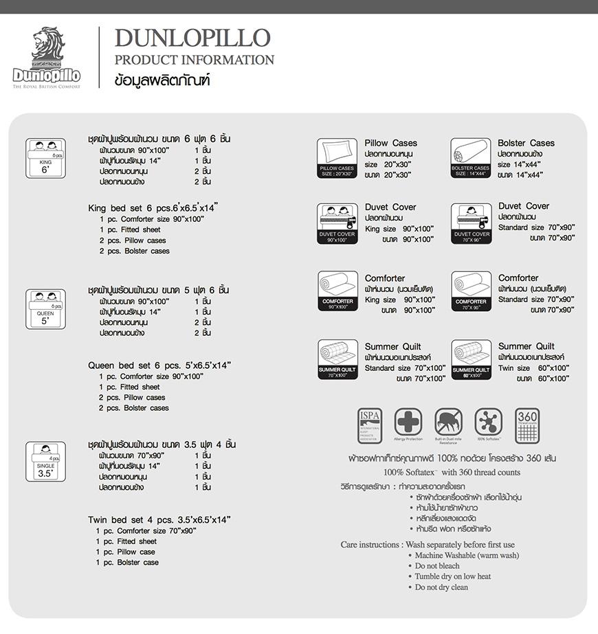 Dunlopillo Monoblock Size Guide
