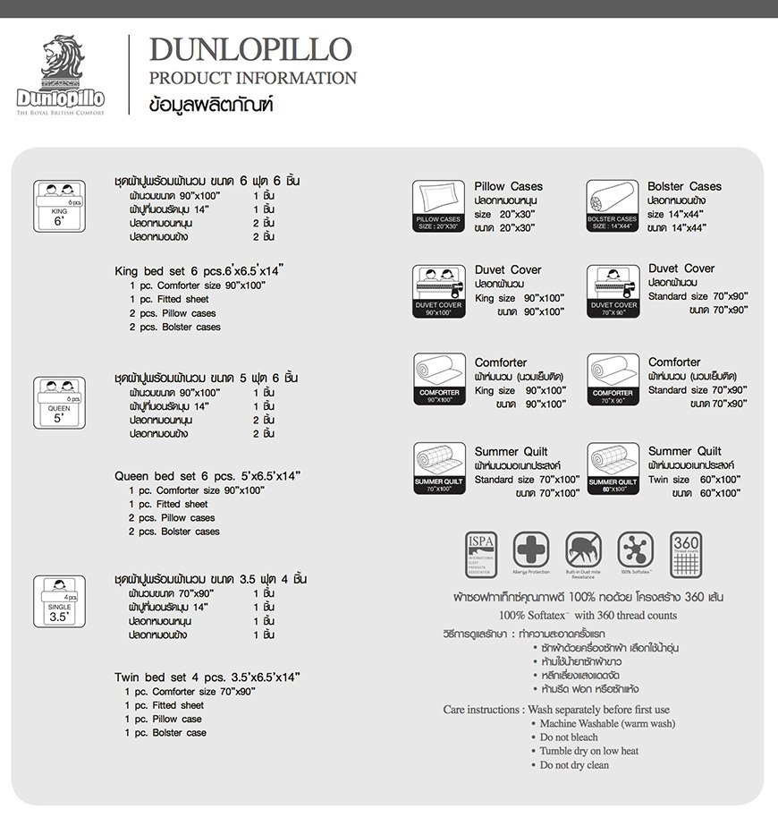 Dunlopillo Solid Size Guide