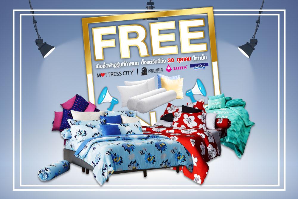 ซื้อชุดผ้าปูที่นอนพร้อมผ้านวม 4 รุ่นนี้ แถมหมอนฟรีสูงสุด 4 ใบ